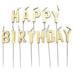 Gold Happy Birthday Pick Candle