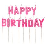 Pink Glitter Happy Birthday Pick Candle