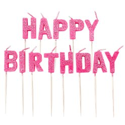 Pink Glitter 'Happy Birthday' Pick Candle
