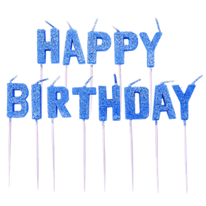 Blue Glitter 'Happy Birthday' Pick Candle