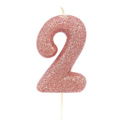 2nd Birthday Candles - Rose Gold 7cm