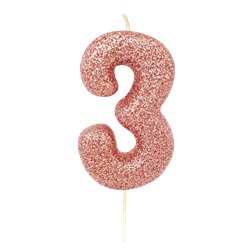 3rd Birthday Candles - Rose Gold 7cm