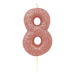 8th Birthday Candles - Rose Gold 7cm