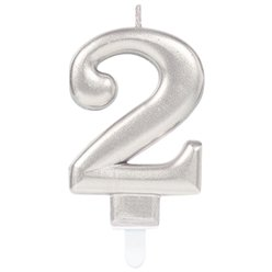 Silver Number 2 Candle