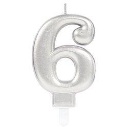 Silver Number 6 Candle