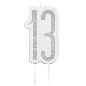 Age 13 Silver Glitter Birthday Candles