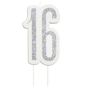 Age 16 Silver Glitter Birthday Candles