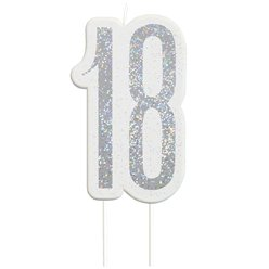 Age 18 Silver Glitter Birthday Candles