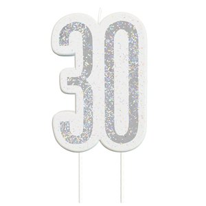 Age 30 Silver Glitter Birthday Candles