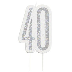 Age 40 Silver Glitter Birthday Candles