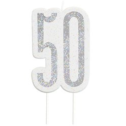 Age 50 Silver Glitter Birthday Candles