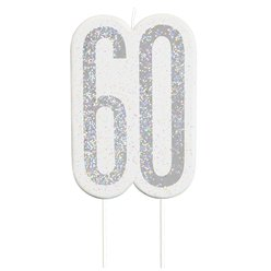 Age 60 Silver Glitter Birthday Candles