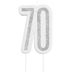 Age 70 Silver Glitter Birthday Candles