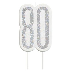 Age 80 Silver Glitter Birthday Candles