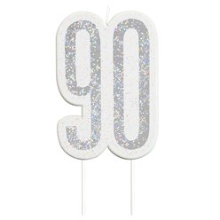 Age 90 Silver Glitter Birthday Candles