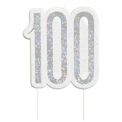 Age 100 Silver Glitter Birthday Candles