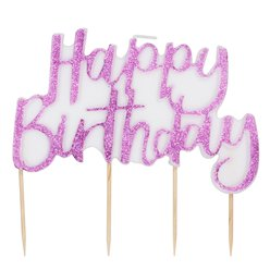 Pink Glitter Happy Birthday Candle - 12cm