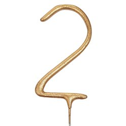Gold Number 2 Sparkler Candle - 17.7cm