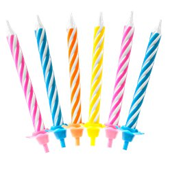 Bright Assorted Spiral Stripe Candles - 6cm