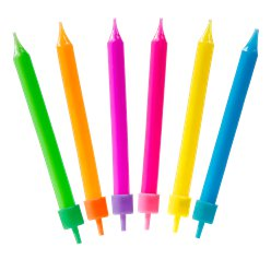 Colourful Assorted Candles - 6.5cm
