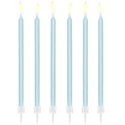 Light Blue Tall Candles - 14cm