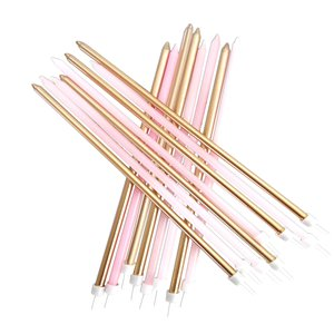 Pastel Pink & Gold Extra Tall Candles - 18cm