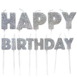 Silver Happy Birthday Pick Candles - 7cm