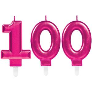 100th Birthday Candles - Pink 7.5cm