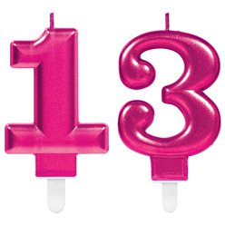 13th Birthday Candles - Pink 7.5cm