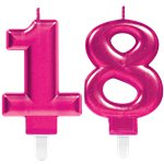 18th Birthday Candles - Pink 7.5cm