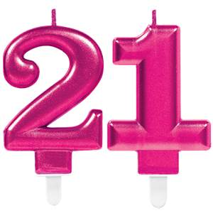 21st Birthday Candles - Pink 7.5cm