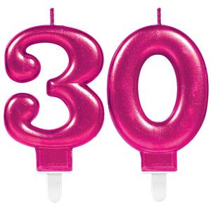 30th Birthday Candles - Pink 7.5cm