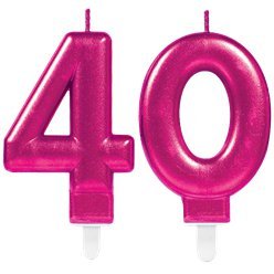 40th Birthday Candles - Pink 7.5cm