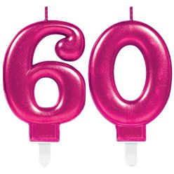 60th Birthday Candles - Pink 7.5cm