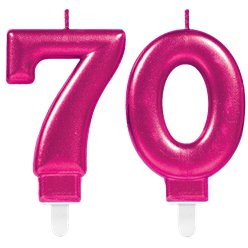 70th Birthday Candles - Pink 7.5cm