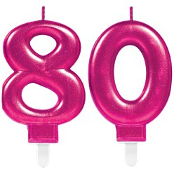 80th Birthday Candles - Pink 7.5cm