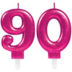 90th Birthday Candles - Pink 7.5cm
