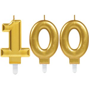 100th Birthday Candles - Gold 7.5cm