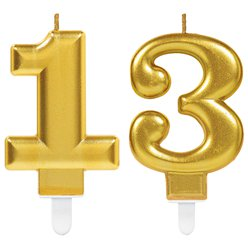 13th Birthday Candles - Gold 7.5cm