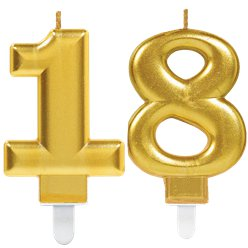 18th Birthday Candles - Gold 7.5cm