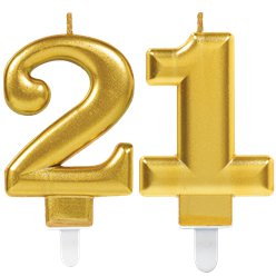 21st Birthday Candles - Gold 7.5cm