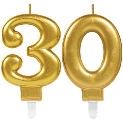 30th Birthday Candles - Gold 7.5cm