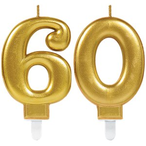 60th Birthday Candles - Gold 7.5cm