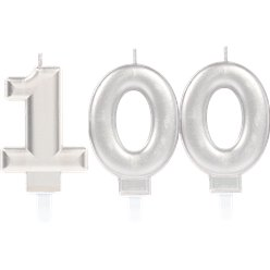 100th Birthday Candles - Silver 7.5cm