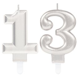 13th Birthday Candles Silver - 7.5cm