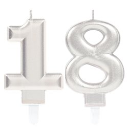 18th Birthday Candles - Silver 7.5cm