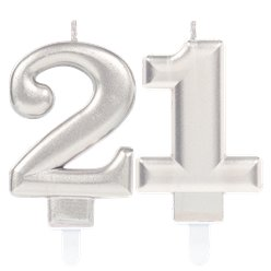 21st Birthday Candles - Silver 7.5cm