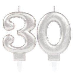30th Birthday Candles - Silver 7.5cm