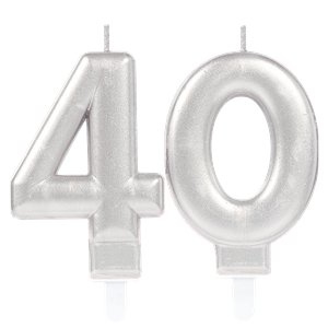 40th Birthday Candles - Silver 7.5cm