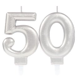 50th Birthday Candles - Silver 7.5cm